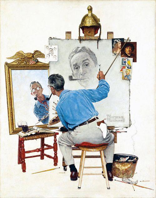 Triple autoportrait, Norman Rockwell, huile sur toile, 113,5x87,5 cm, couverture du Saturday Evening Post du 13 février 1960