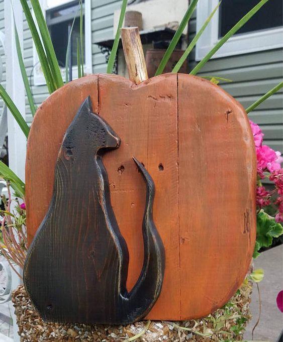 Black Halloween Pumpkin Wood Flower Decor
