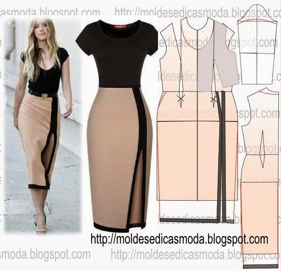 TRANSFORMAÇÃO DE MOLDE VESTIDOS _125 ~ Moldes Moda por Medida