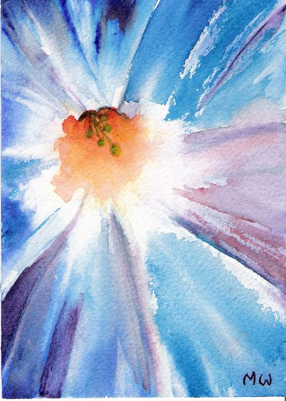 Flower paintings watercolor painting and watercolors on for Easy watercolor for beginners