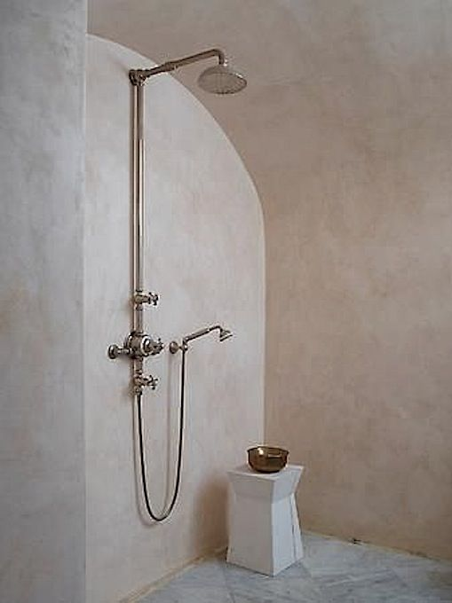 Rose Uniacke's Classic Designed Minimal Home. Luxuriously minimal shower design.