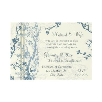 Blue Floral Vow Renewal Ceremony Invitation Card from – Renewal of Vows Invitation Cards