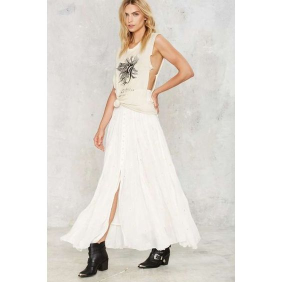 Miss June Less is Mirror Maxi Skirt (170 AUD) ❤ liked on Polyvore featuring skirts, white, maxi skirt, long skirts, long white maxi skirt, white skirt and button front skirt