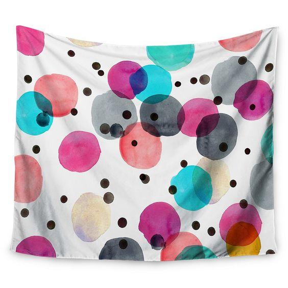 "Pink Black Crystal Walen Festive Watercolor Dots Wall Tapestry (51""x60"") - Kess InHouse, Green"