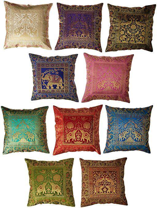 Silk Brocade Throw Pillow Cushion Cover