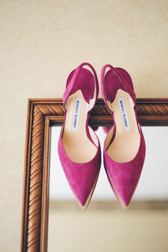 Manolo Blahnik Raspberry wedding shoes!