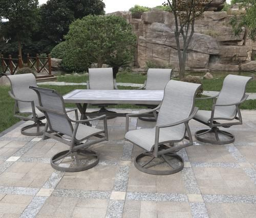 Backyard Creations Hilton Point Collection 7 Piece Rectangular
