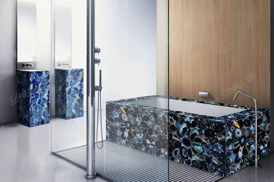 blauer Achat Badezimmereinrichtung Ambiente Stil Klarheit