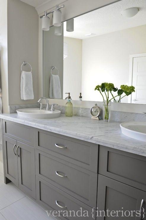 Gray Double Bathroom Vanity Shaker Cabinets Frameless Mirror