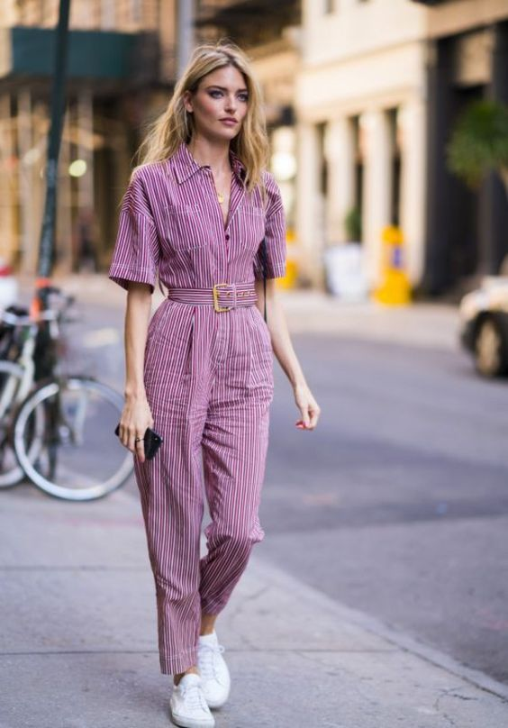 There is 1 tip to buy jumpsuit, martha hunt, model off-duty, pants, stripes, top, streetstyle.