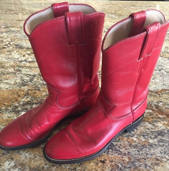 Justin L3055 Red Leather Kipskin Cowboy Boots Women's Size 6.5 B ...