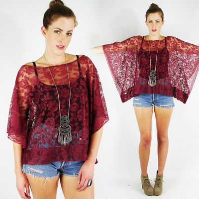 vtg 70s boho hippie MAROON SHEER floral LACE cutout CAFTAN tunic blouse top S/M $48.00