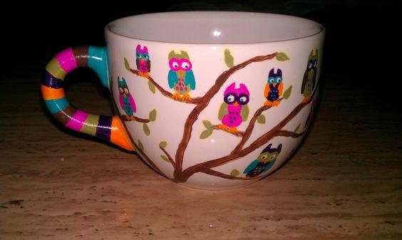 Ceramic mug I made as a Christmas present for my secret Santa. She loves owls.
