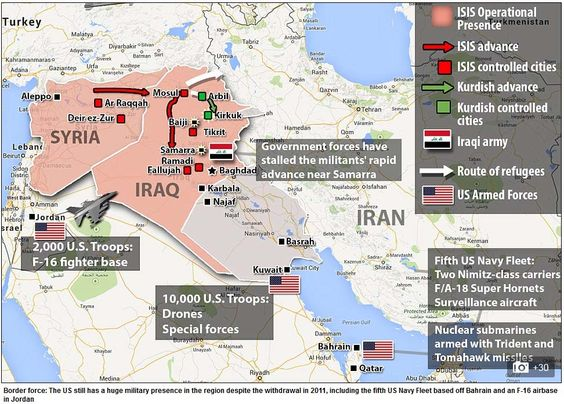 Detailed map of Iraq and Syria Shows locations of US troops and