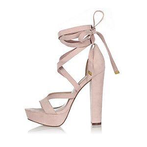 Chaussures roses lacées à plateforme et talons River Island