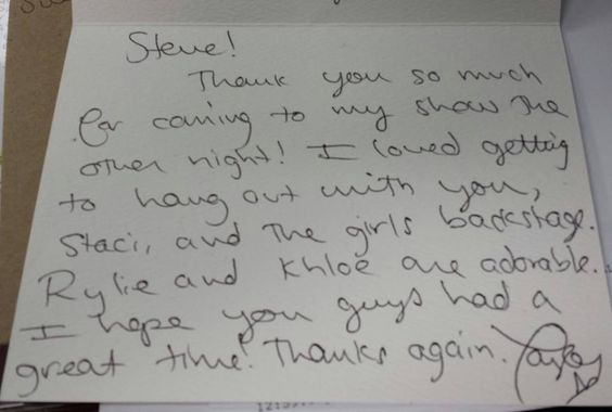 Its not everyday you get a card from Taylor Swift thanking you from coming to her concert :)