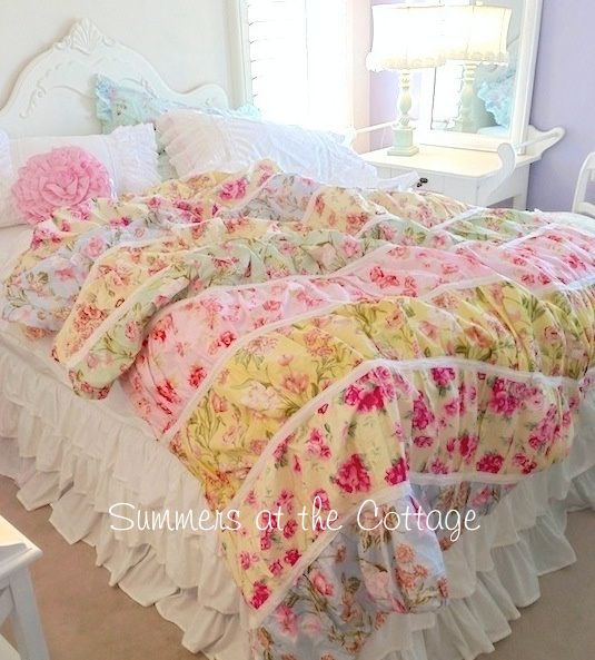 Quilt twin quilt and cottages on pinterest - Pink and yellow comforter ...