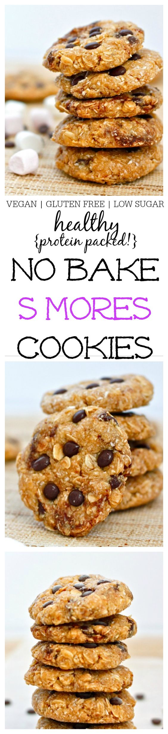 Healthy No Bake S'mores Cookies- Soft and chewy cookies which take 10 ...