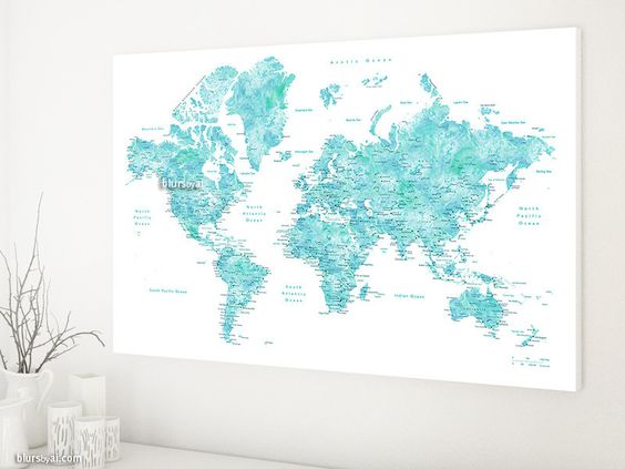 World map with cities, canvas print in aquamarine watercolor