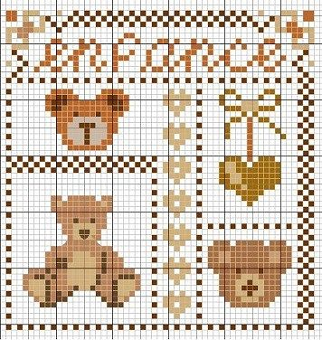 cross-stitch bear biscornu chart... no color chart available, just use pattern chart as your color guide.. or choose your own colors...