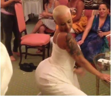 "Amber Rose twerked it and threw it to the south the night before her wedding day. What do you expect she is happy someone put a ring on it! She put up the video on Instagram saying:      ""Only bad bitches twerk the night before their wedding."""