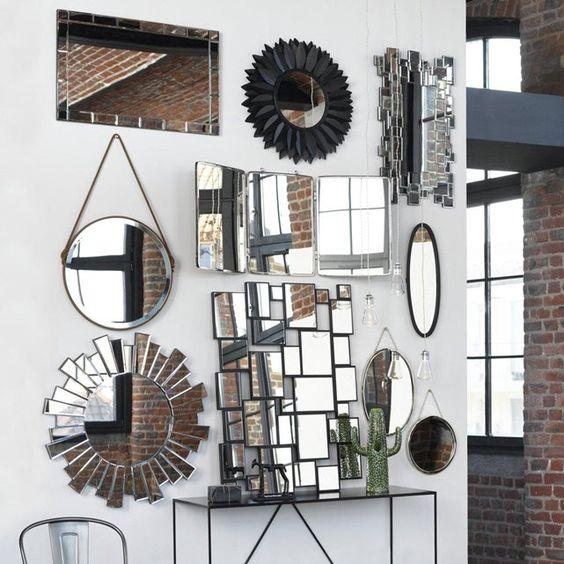 Table d 39 appoint blanche en bois jean pinterest maison d cor et miroir de fleurs - Mur en miroir ...