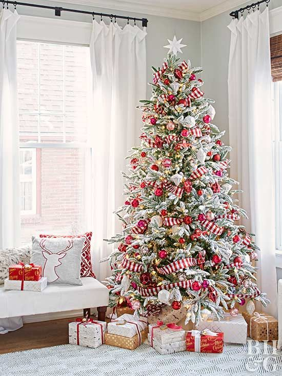 This tree's as sweet as a candy cane and just as colorful! To get the look, choose stripped ribbon to stand in for a classic garland. Coordinating ornaments finish this classic Christmas tree theme.
