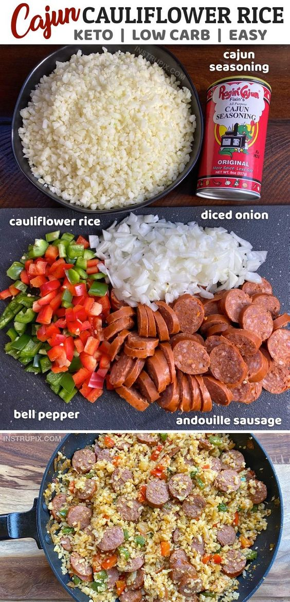 Cajun Cauliflower Rice (Keto & Low Carb) | Recipe | Riced broccoli recipes, Food recipes, Broccoli r