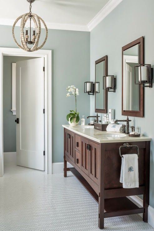 Wall paint color is Benjamin Moore Gray Wisp. Great transitional gray/green/blue mix Reu Architects