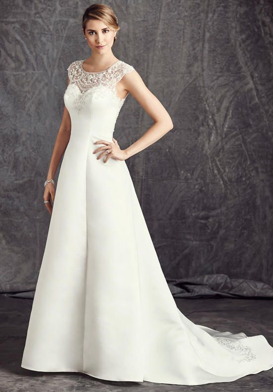 Satin a-line gown with illusion neckline and natural waist | Kenneth Winston: Ella Rosa Collection | https://www.theknot.com/fashion/be291-kenneth-winston-ella-rosa-collection-wedding-dress