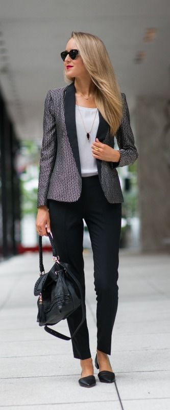 Business Casual: black leather braided bucket bag with tassels, laser cut perforated d'orsay flats, black cropped pants, jacquard blazer, + silk pocket tee | @SoleSociety with   with <3 from JDzigner www.jdzigner.com