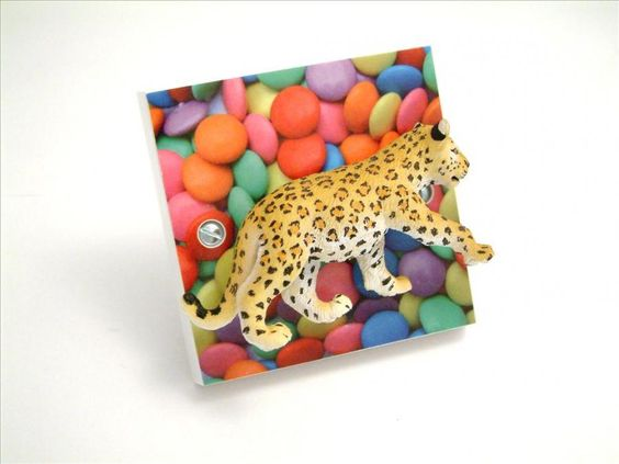 Funky Leopard Light Switch!! Handmade in the UK by Candy Queen
