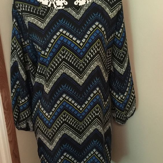 Shift dress! Super adorable shift dress exposed zipper in the back!worn maybe twice,size XL but I think it fits more of a large!price firm!! Dresses Long Sleeve