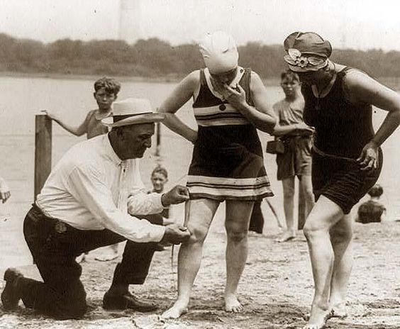 A majestic photo of Col. Sherrell, Supt. of Public Buildings and Grounds, has issued an order that bathing suits at the Washington bathing beach must not be over six inches above the knee .. It was made in 1922.    Love it! haha!