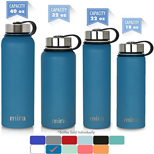 BPA-Free Straw Cap Hot for 12 Hours MIRA 32 oz Stainless Steel Water Bottle with Straw Lid Vacuum Insulated Metal Thermos Flask Keeps Cold for 24 Hours Blue