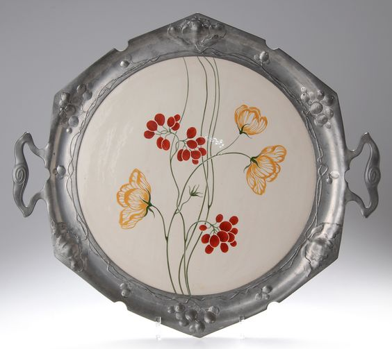 Art Nouveau drink tray, c. 1904, the pewter frame manufactured by Orivit, signed, 47 cm.