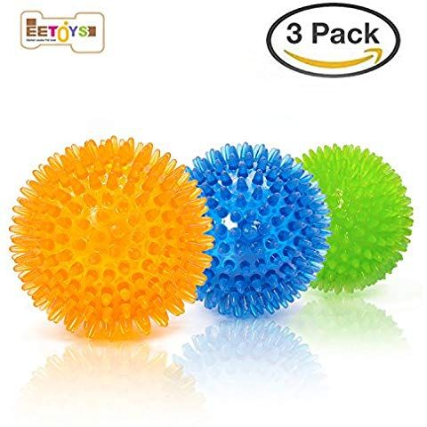 Eetoys Durable Dog Spike Ball 3 Pack 2 1 3 Squeaker Spiky Ball