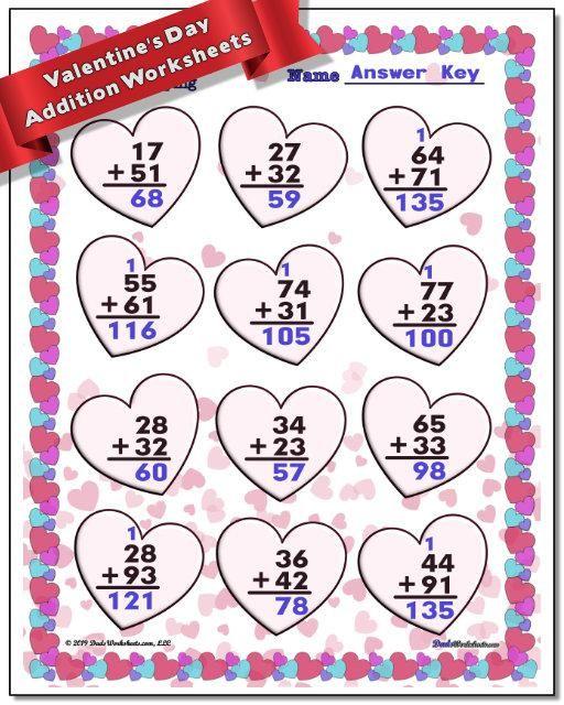 Https Www Dadsworksheets Com Valentine S Day Addition Worksheet Valentine Worksheets Math Facts Addition Kindergarten Math Worksheets