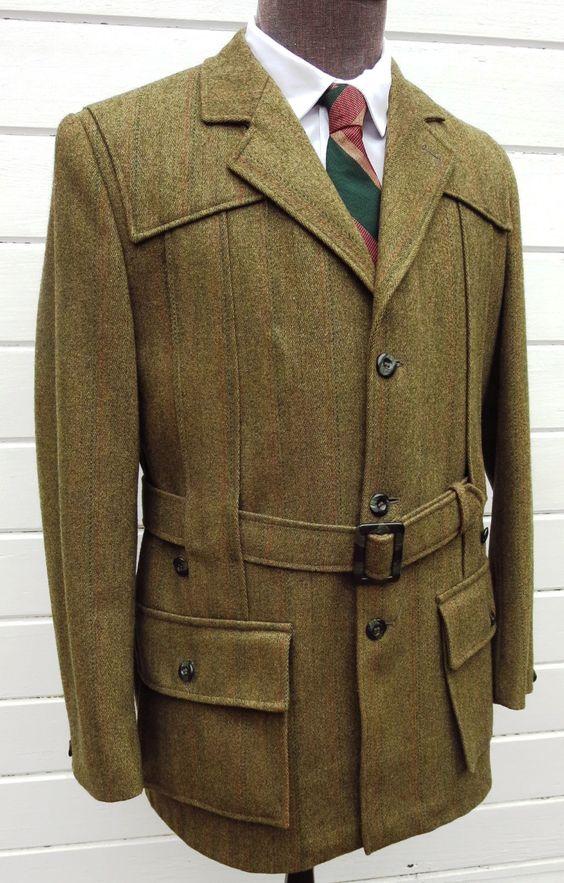 Vintage Stunning Chris Dawes Norfolk Jacket Derby Tweed Belted