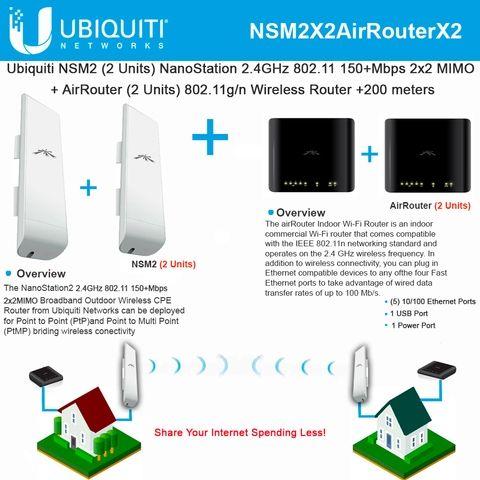 Ubiquiti NSM2 US NanoStation M Pre-Configure 2.4GHz 2x2 In//Out airMAX CPE Router