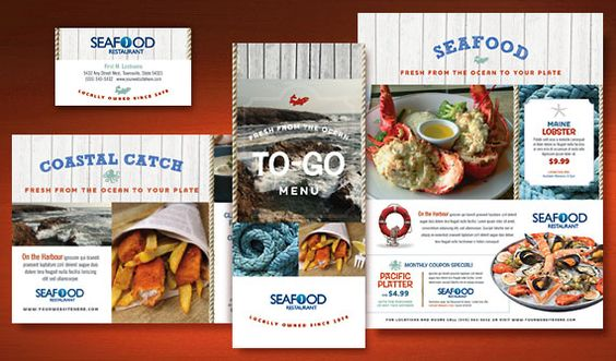 Seafood restaurant menu postcard flyer ads take out