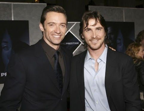 Hugh with Christian Bale at the premiere for The Prestige