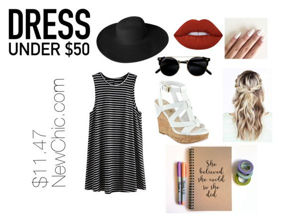 """""""#DressUnder50"""" by allanah503 ❤ liked on Polyvore featuring GUESS, Dorfman Pacific, Lime Crime and Dressunder50"""