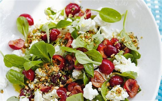 Goat's cheese and macerated-cherry salad, from the Telegraph. Good variety of textures, and so pretty.