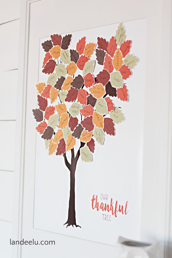 Thankful Tree Free Printable   Print the tree and the leaves and have everyone write what they are thankful for! Such a cute way to display your gratitude!