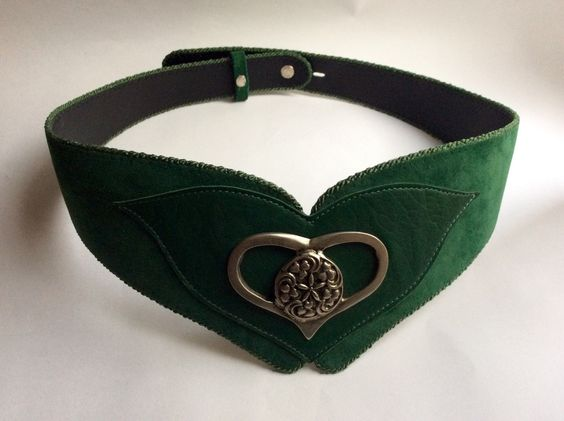 Fantasy Folk Belt Green with Metal floral ornamented heart Whimsical  Pirate Elf Oktoberfest / Size S by SuitcaseInBerlin on Etsy