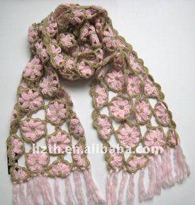 De moda de la flor del ganchillo de la bufanda,Bufandas Tejidas .