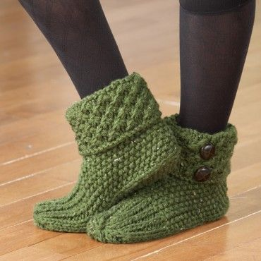 Knit Tweed Slippers kit by Mary Maxim.