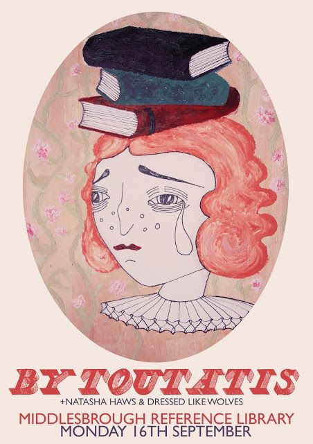 Oil painted poster: weeping bookheaded girl. By Danielle Eden Johnson.