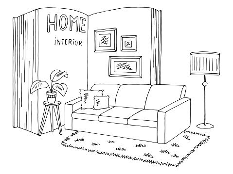 Living Room Inside Open Book Graphic Black White Isolated Home